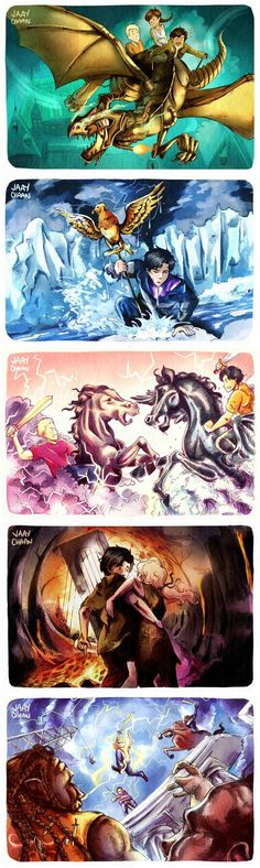 Redrawings of the HoO book covers. <3