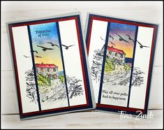 By the Bay Sunset Card by serenestamper - Cards and Paper Crafts at Splitcoaststampers Nautical Cards, Retirement Cards, Stamping Up Cards, Rubber Stamping, Card Tutorials, Card Sketches, Masculine Cards, Creative Cards, Homemade Cards
