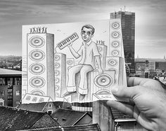 Pencil vs Camera, a great mix of photography and illustration by Ben Heine