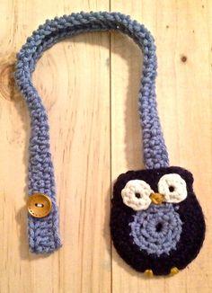 Crochet Navy and Light Blue Owl Pacifier Clip