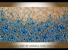 Original Modern Blue Flowers Impasto Textured by AngelaCoxArt