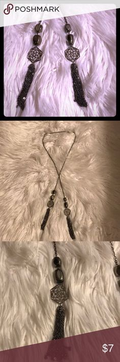 Long tassel necklace Extra long tassel necklace with a shiny charcoal finish. Jewelry Necklaces