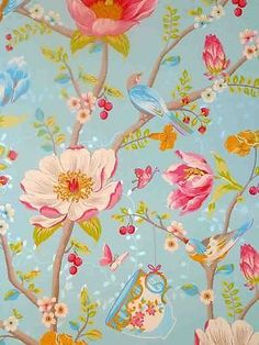 Pip studio malla-papel pintado 341002 floral pájaros azul Vintage (11.06 euros por m²)