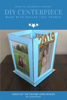 This is an easy to make centerpiece idea for graduation parties! Graduation Party Centerpieces, Graduation Party Planning, Graduation Diy, Graduation Party Decor, High School Graduation, Diy Centerpieces, Graduation Invitations, Grad Parties, Frames