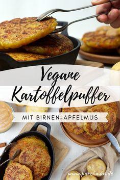Vegane Kartoffelpuffer mit Apfel-Birnenmus Vegan Dinner Recipes, Vegan Dinners, Veggie Recipes, Fall Recipes, Crockpot Recipes, Healthy Recipes, Autumn Recipes Vegan, Fabulous Foods, Vegan Life