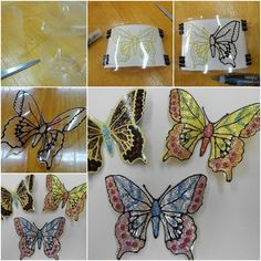 diy-plastic-bottle-butterflies led lights would be awesome behind these DIY Glitter Butterfly from Plastic Bottles - Easy plastic bottle butterfly craft project How to Make Glitter Butterfly from Plastic Bottles tutorial and instruction: for the garden Le Plastic Bottle Flowers, Plastic Bottle Crafts, Recycle Plastic Bottles, Garden Crafts For Kids, Kids Crafts, Craft Projects, Arts And Crafts, Butterfly Crafts, Butterfly Art
