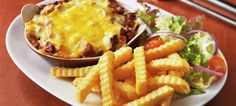 Homemade Lasagne served with McCain Classics Crinkle Cut Chips Recipe   McCain Foodservice