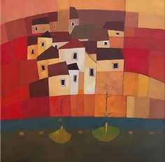 SOLD: Town By The Sea 50cm X 50 Cm Oil On Canvas