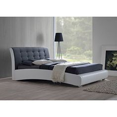 Nice Baxton Studio Guerin Contemporary White Faux Leather Fabric Two Tone Upholstered Grid Tufted Platform Bed
