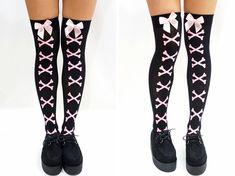 Pink Bones Pastel Goth Knee High Socks/ Stockings  Free Size