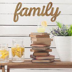 Natural Wood Script Family Plaque