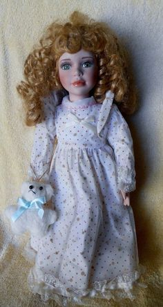 "17"" doll porcelain ash blonde curly locks, Like Goldilocks  #DollswithClothingAccessories"