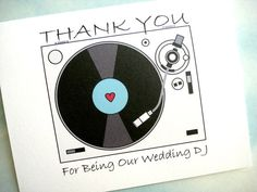Wedding DJ Thank You Card by lilcubby on Etsy, $3.95