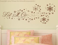 """Let It Go - Frozen Inspired Wall Decal. Original Design 28"""" X 11"""" (approximate) on Etsy, $24.99"""