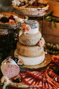 """Maybe you and your spouse-to-be simply don't like sweets. In that case, consider a savory """"dessert,"""" instead. This couple stacked wheels from Murray's Cheese to anchor their charcuterie-inspired Autumn Nomad display. #weddingideas #wedding #marthstewartwedding #weddingplanning #weddingchecklist Fall Wedding Cakes, Wedding Desserts, Wedding Ideas, Wedding Foods, Wedding Stuff, Wedding Inspiration, Cheesecake Wedding Cake, Quick Cake, Wedding Cake Alternatives"""