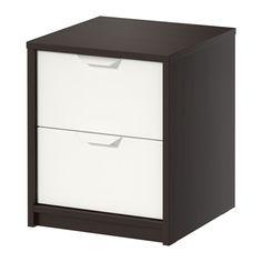 ASKVOLL Chest of 2 drawers, black-brown, white black-brown/white 41x49 cm