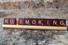 No Smoking sign in Scrabble Tiles Pick Vintage Wood or  Vintage Maroon tiles by cateroon, $10.00