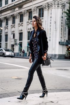 edgy boots with all black outfit