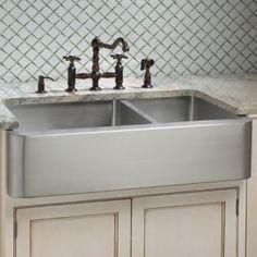 "33"" Cortland Stainless Steel 60/40 Double Well Farmhouse Sink Handmade Sink"