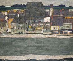 Egon Schiele, Häuser am Fluss.  (Casas junto al río. La ciudad vieja)