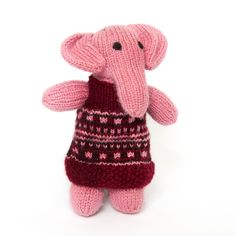 Sitara Collections Handmade Plush Pink Elephant in Frock
