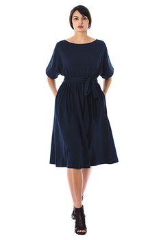 Dolman sleeve cotton knit blouson dress #eShakti