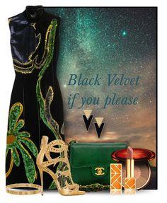 """""""Black Velvet"""" by constanceann ❤ liked on Polyvore featuring Chanel, Prada, Giuseppe Zanotti, Clarins, Tory Burch, Cartier, Yves Saint Laurent, velvet and blackvelvet"""