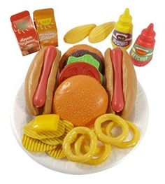 Buy PowerTRC Fast Food Pretend Play Set for Kids Includes Burger, Hot Dog, Potato Chips, Onion Rings, Corn and More Accessories Cooking Play Set Kids Play Food, Play Food Set, Play Sets, Little Girl Toys, Toys For Girls, Baby Girls, Cooking Toys, Princess Toys, Baby Doll Accessories