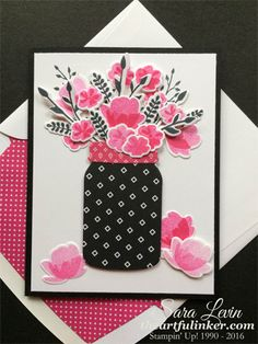 Sara Levin | theartfulinker.com One of the handmade cards we made yesterday using Jar of Love and Pop of Pink ( Stampin' Up! ).  Don't you just love the black and pink flower arrangement?  Click for details!