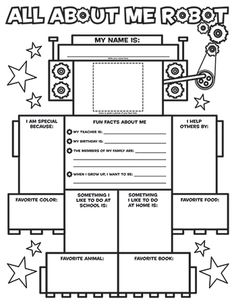 """All About Me"" Robot - Great icebreaker worksheet! I don't know if I'd actually do this, but it'd be so darn adorable!"