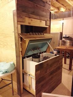 Pullout Keezer with pallet wood