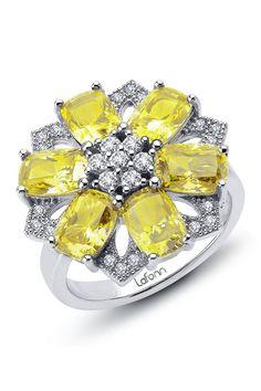 LaFonn Yellow & White Simulated Diamond Red Carpet Flower Ring