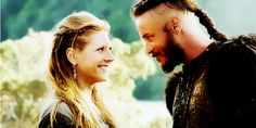 Lagertha and Ragnar from Vikings. Katheryn Winnick and Travis Fimmel.