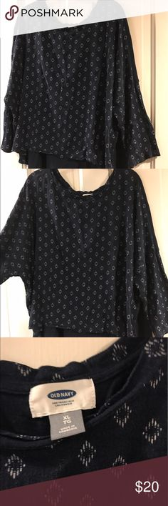 Old Navy Blue Lightweight Patterned Blouse Re-posh! Great condition it was just too big on me! Soft cotton, wide 3/4 length sleeves, patterned on front and plain on back. Offers welcome, but please be considerate. Old Navy Tops Blouses
