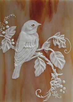 Art: Bird Sculpted Cameo on clay on stained glass ACEO by Artist Paulie Rollins ... love her work!