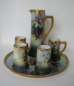 Antique Limoges William Guerin Grape Decor,Platter,Tankard and Mugs c1900, BEAUTIFUL!!