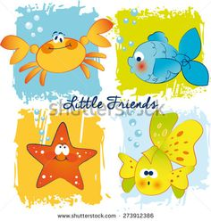 Vector funny fishes crab and starfish  - stock vector
