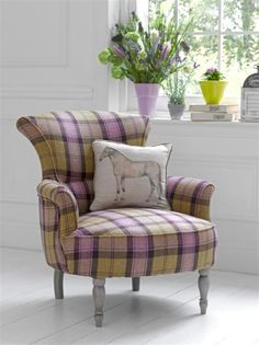 Love this tailored pastel plaid chair. Perfect combination of masculine and feminine. Stroma & The Gallops fabrics by Voyage Country