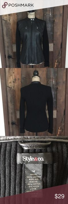 Ladies cardigan EUC ladies leather and knit cardigan. No rips, stains, or tears. Front is 100% leather. A very cute and versatile piece! Comes from smoke free home. Message for more details. Thanks for looking! Style & Co Sweaters Cardigans