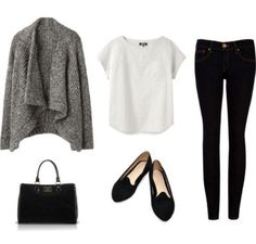 Basic look, besonders toll:die Strickjacke # Casual Outfits weekend purses Cool Summer Outfits, Fall Winter Outfits, Autumn Winter Fashion, Winter Chic, Black Flats Outfit, Grey Outfit, Mode Outfits, Casual Outfits, Dress Casual