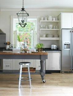 grey and butcher block; open shelves