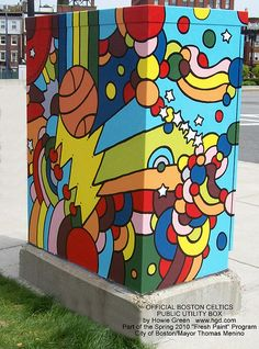 Boston Celtics Public Utility Box by Pop Artist Howie Green. I wish someone would do this in Denver -- it's a great way to dress up an otherwise ugly necessity.