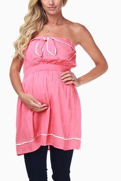 fb7581967d8ed PinkBlush - Where Fashion Meets Motherhood. Pink Ruffled Strapless Maternity  Blouse