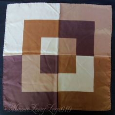 Large Vintage Tan Brown Silk Pocket Square Handkerchief Four Patterns Geometric #Handmade #Patterned