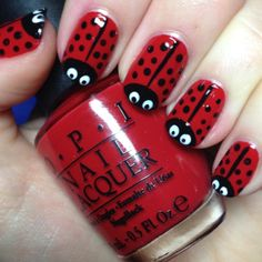 red-clasic-nail-art-design-with-red-ladybug-nails