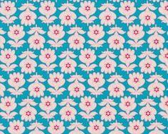 Feiner Popeline-Patchworkstoff Floressence mit regelmäßigen Blumen, helles petrol-helles altrosa