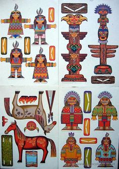 Native American Patterns, Native American Art, American Indians, Indian Birthday Parties, Indian Party, Pilgrims And Indians, Cowboys And Indians, Paper Toys, Paper Crafts
