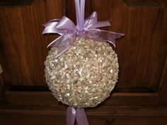 #Kissing balls #pomanders #crushed sea shells ##pew bows #Beach Wedding #Country Wedding
