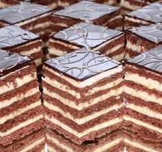 Stollwerck szelet Hungarian Desserts, Hungarian Cake, Hungarian Recipes, Chocolate Truffles, Chocolate Recipes, Pastry Recipes, Cake Recipes, Sweet Cookies, Cake Bars