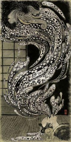Yuko Shimizu aka 清水裕子 (Japanese, b. Chiba Prefecture, Japan) - for BEASTS! 2 published by Phantagraphics Books; image of Baku, Japanese mythological Dream-Eater. Japanese Illustration, Illustration Art, Image Japon, Dream Eater, Yuko Shimizu, Japanese Mythology, School Of Visual Arts, Art Japonais, Japan Art